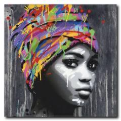 Siyahi Kadın Kanvas Tablo