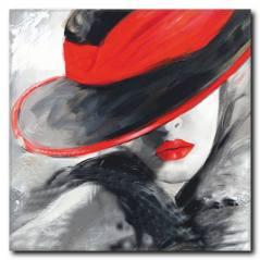 Kırmızı Şapkalı Kadın Kanvas Tablo