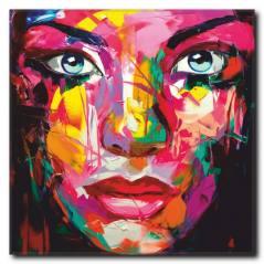 Renkli Kadın Yüzü Temalı Tablo