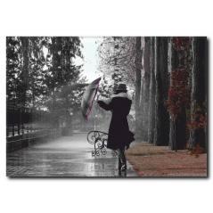 Şemsiyeli Kadın Kanvas Tablo