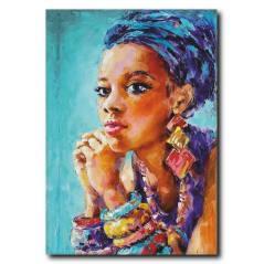 Siyahi Güzel Kadın Yağlı Boya Tablo