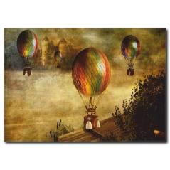 Renkli Balonlar Vintage Kanvas Tablo