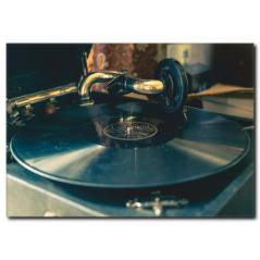 Eski Gramofon Kanvas Tablo