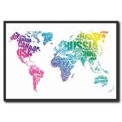 Renkli Dünya Haritası Tablo