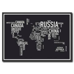 Siyah Beyaz Dünya Haritası Kanvas Tablo