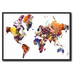 Modern Dünya Haritası Kanvas Tablo