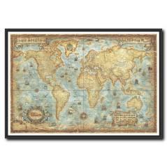 Retro Dünya Haritası Kanvas Tablo