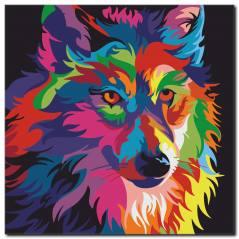 Rengarenk Köpek Temalı Kanvas Tablo
