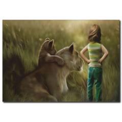 Hayvan Dostluğu Temalı Kanvas Tablo