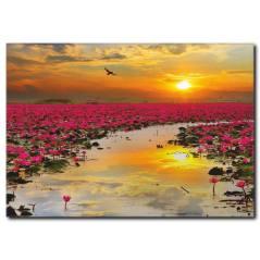 Kırmızı Nilüfer Çiçekleri Manzaralı Kanvas Tablo