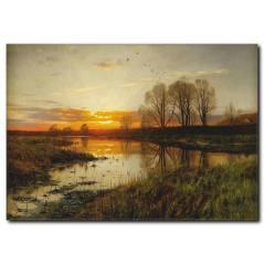 Günbatımı ve Doğa Manzaralı Kanvas Tablo