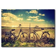 Bisiklet Gezintisi Temalı Kanvas Tablo