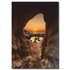 Mağaradan Günbatımı Manzarası Kanvas Tablo