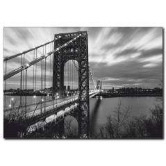 Köprü Manzaralı Siyah Beyaz Kanvas Tablo