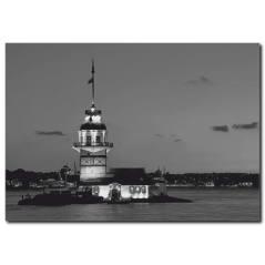 Kız Kulesi Manzaralı Siyah Beyaz Kanvas Tablo
