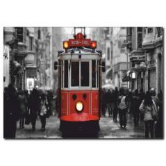 İstiklal Caddesi ve Nostaljik Tramvay Siyah Beyaz Tablo