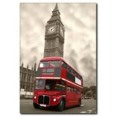 Londra ve Kırmızı OtobüsTemalı Kanvas Tablo