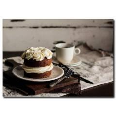 Kahve Eşliğinde Pasta Temalı Kanvas Tablo