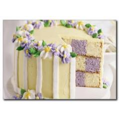 Mor Çiçek Detaylı Pasta Kanvas Tablo