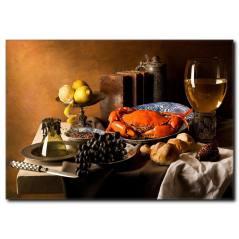 Yengeçli Akşam Yemeği Temalı Kanvas Tablo