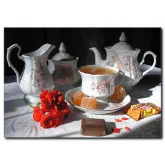 Çay saati Temalı Kanvas Tablo