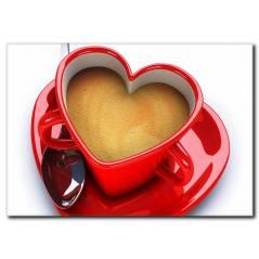 Kırmızı Kalpli Fincan Kanvas Tablo KH-1005
