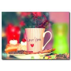Love Yazılı Kahve Fincanı Kanvas Tablo