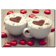 Kalp Detaylı Kahveler Kanvas Tablo