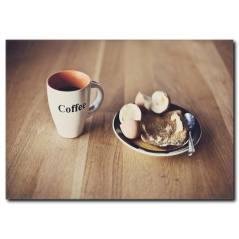 Kahve ile Kahvaltı Temalı Kanvas Tablo
