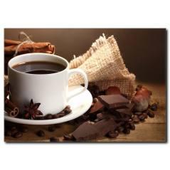 Kahve ve Çikolatanın Uyumu Temalı Kanvas Tablo