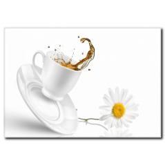 Papatya Detaylı Beyaz Kahve Fincanı Kanvas Tablo