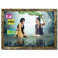 Yağmur Altında Anne Kız Doğal Ahşap Tablo Tablo