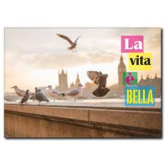 Şehir ve Özgür Kuşlar Kanvas Tablo