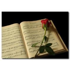 Notalarda Aşk Temalı Kanvas Tablo