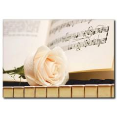 Piyanoda Beyaz Gül Temalı Kanvas Tablo