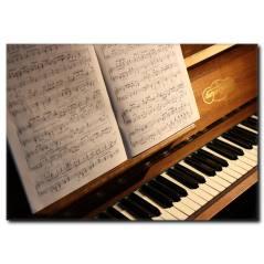 Piyano ve Notalar Kanvas Tablo