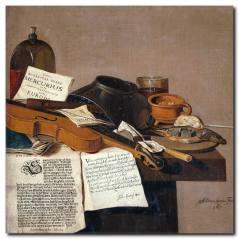 Nostaljik Müzisyen Masası ve Keman Kanvas Tablo