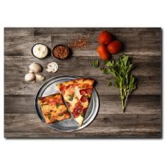 Mantarlı Dilim Pizza Kanvas Tablo