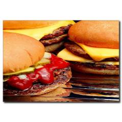 Peynirli Hamburger Temalı Kanvas Tablo