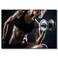 Ağırlık Çalışan Fit Vücutlu Sporcu Kadın Tablo