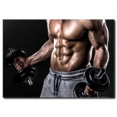 Ağırlık Çalışan Sporcu Vücutlu Erkek Kanvas Tablo