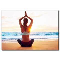 Kumsalda Yoga Yapan Kadın Kanvas Tablo