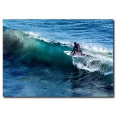 Hırçın Dalgalarda Sörf Deneyimi Kanvas Tablo