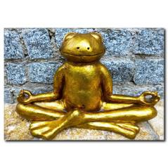 Yoga Yapan Kurbağa Heykel Komik Kanvas Tablo