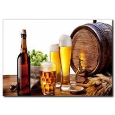 Fıçı Bira ve İçiçekler Kanvas Tablo