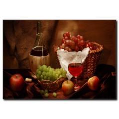 Şarap ve Üzüm Kanvas Tablo
