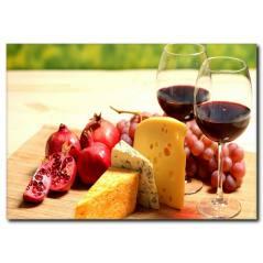 Kırmızı Şarap ve Peynir Temalı Kanvas Tablo