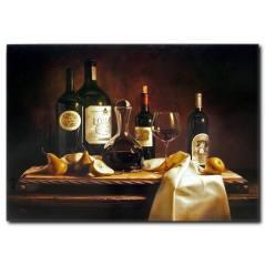 Şarap Keyfi Temalı Kanvas Tablo