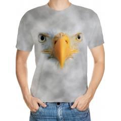Beyaz Kartal Desenli 3D Tişört