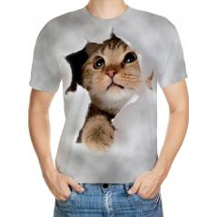 Kedicik Desenli 3D Tişört